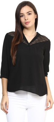 Rare Casual 3/4 Sleeve Solid Women,s Black Top