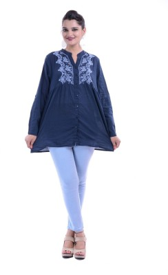 Megha Overseas Casual Short Sleeve Printed Women's Blue Top