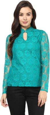 Abiti Bella Party Full Sleeve Embroidered Women's Green Top
