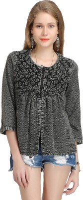 Bainy Casual Full Sleeve Solid Women,s Black Top