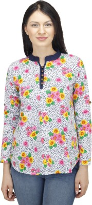 Colornext Casual Full Sleeve Floral Print Women,s White, Pink Top