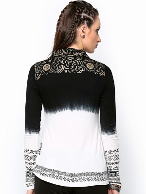 Paschime Casual Full Sleeve Printed Women's Black Top