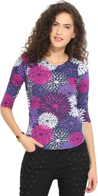 Northern Lights Casual Short Sleeve Floral Print Women's Multicolor Top