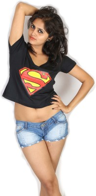Fashion Fakir Casual Short Sleeve Printed Women's Black Top