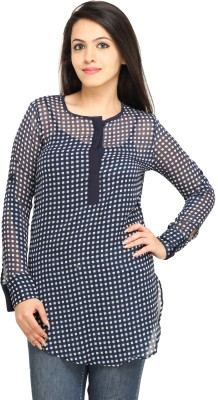 Kwardrobe Casual, Lounge Wear Roll-up Sleeve Checkered Women's Blue, White Top