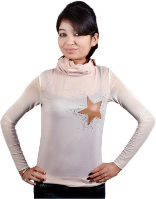 Knives Party Full Sleeve Embellished Women's Beige Top
