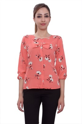 Tinge of Colors Casual, Formal 3/4 Sleeve Floral Print Women's Pink Top