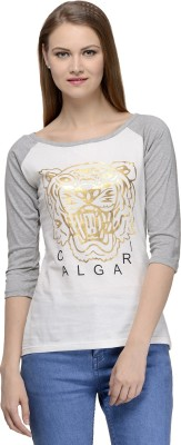 Calgari Casual 3/4 Sleeve Solid Women's White, Grey Top