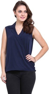 DeDe,S Casual Sleeveless Solid Women's Dark Blue Top