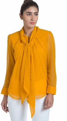 The Office Walk Formal Full Sleeve Solid Women's Yellow Top