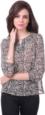 Sassafras Casual 3/4th Sleeve Printed Women's Black, White Top at flipkart