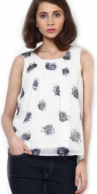 Vero Moda Casual Sleeveless Floral Print Women's White Top at flipkart