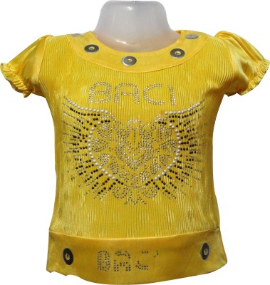 Threads Casual Short Sleeve Embroidered Girl's Yellow Top