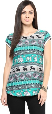 Shwetna Casual Short Sleeve Printed Women's Green Top