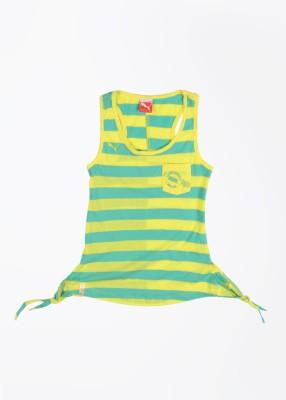 Puma Casual Sleeveless Striped Girl's Green, Yellow Top