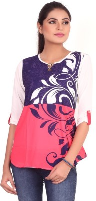 Pink Nine Casual 3/4 Sleeve Paisley, Embellished Women's Blue, Red Top