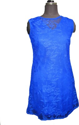 V.K TRADERS Casual Sleeveless Embroidered Women's Blue Top