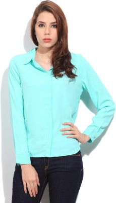 Arrow Formal Full Sleeve Solid Women's Green Top
