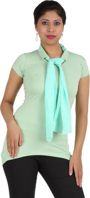 Rishan Casual Short Sleeve Solid Women's Green Top