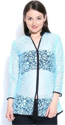 Shopaholic Casual 3/4 Sleeve Self Design Women's Light Blue, Black Top