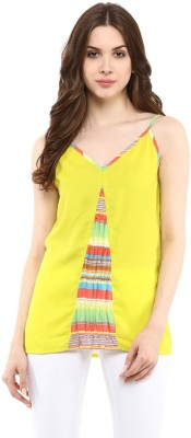Abiti Bella Casual Sleeveless Printed Women's Yellow Top