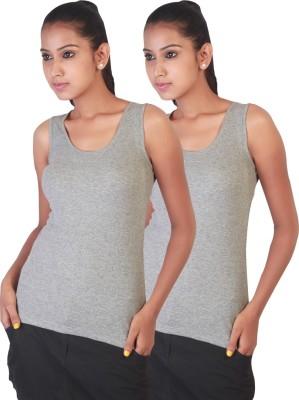 Twin Birds Casual Sleeveless Solid Women's Grey Top