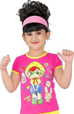Yellow Dots Casual Cap sleeve Printed Girl's Pink Top