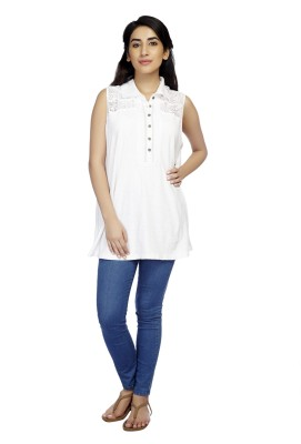 True Fashion Casual Sleeveless Solid Women's White Top