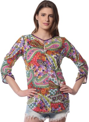 Florrie fusion Casual 3/4 Sleeve Floral Print Women's Multicolor Top
