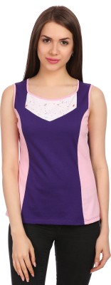 Legona Casual Sleeveless Solid Women's Purple, Pink, White Top