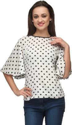 Vemero Clothings Casual Bell Sleeve Polka Print Women's White Top