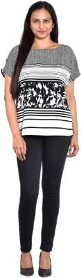 Entease Casual Short Sleeve Printed Women's Black Top