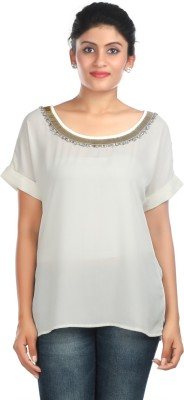 Zoe Fashions Formal Roll-up Sleeve Embroidered Women's White Top