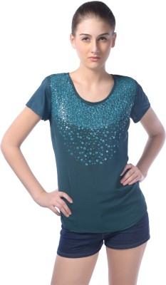 Trendy Divva Casual Short Sleeve Embellished Women's Green Top
