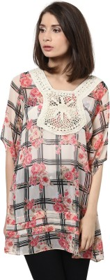 Shakumbhari Casual Short Sleeve Printed Women's Beige Top