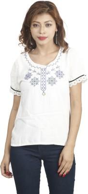 Naitik Casual Short Sleeve Printed Women's White Top