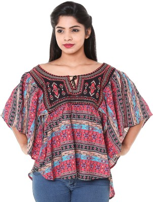 Old Khaki Casual Short Sleeve Printed Women's Multicolor Top