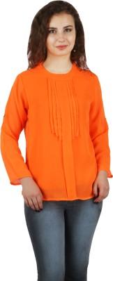FASHIONHOLIC Casual Full Sleeve Self Design Women's Orange Top
