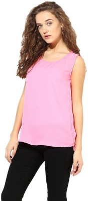 La Firangi Casual Sleeveless Solid Women's Pink Top