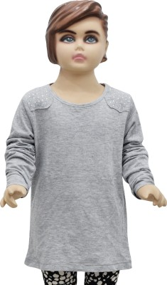 Urban Forest Casual Full Sleeve Embellished Girl,s Grey Top