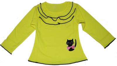 Habooz Casual Full Sleeve Solid Girl's Yellow Top