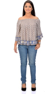 Instinct Casual, Festive 3/4 Sleeve Printed Women,s Beige Top