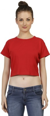 Threadz Casual Short Sleeve Solid Women,s Red Top