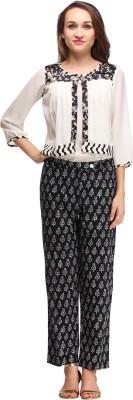 Pehraan Casual 3/4 Sleeve Printed Women's White Top