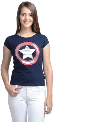 Marvel Comics Casual Short Sleeve Printed Women's Dark Blue Top