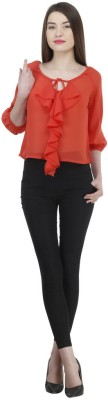 Uptowngaleria Casual 3/4 Sleeve Solid Women's Red Top