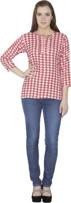 Famous by Payal Kapoor Casual 3/4 Sleeve Houndstooth Women's Red, White Top