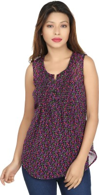 Chloe Casual Sleeveless Floral Print Women,s Black, Purple Top