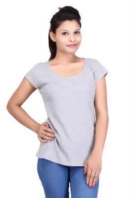 Modimania Casual Short Sleeve Solid Women's Grey Top