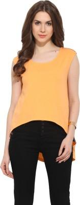 Leo Sansini Casual Sleeveless Solid Women's Orange Top